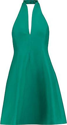 Halston Heritage Halston Heritage Woman Flared Cotton And Silk-blend Halterneck Mini Dress Emerald Size 2
