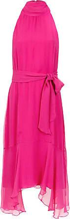 Fillity Vestido midi de seda com amarração - Rosa