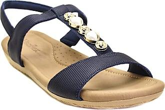 Usaflex Sandália Feminina Usaflex Confort Em Couro Com Pedras 7001 - Azul Escuro