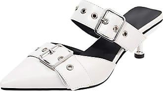 Mediffen Fashion Mules Slippers Women Pointed Toe Kitten Heels Slides Sandals Summer Outdoot Slippers Ladies Slip On Mule Sandals White Size 38 Asian