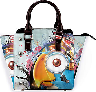 Browncin Parrot Scholar Graffiti Bird Hobby Learning Parrot Magnifier Bachelor Cap Watercolor Lines In Doodle Style Detachable Fashion Trend Ladies Handbag Sho