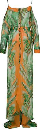 Amir Slama Maxikleid aus Seide mit Print - Grün