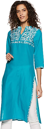 Indigo Womens Straight Fit Cotton Kurta (AW17PC 1_Turquoise_X-Large)