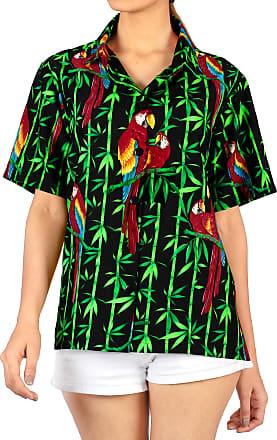 La Leela Womens Hawaiian Blouse Top Collar Short Sleeve Button Down V Neck Casual Work Yoga Shirt Summer Holiday M-UK Size:18-20 Halloween Black_X109