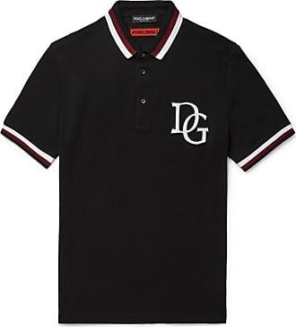 Dolce & Gabbana Stripe-trimmed Appliquéd Cotton-piqué Polo Shirt - Black