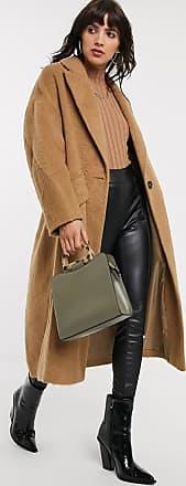 Topshop textured coat in camel-Tan