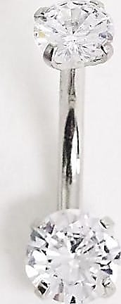 Kingsley Ryan crystal belly bar in silver plated