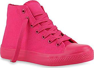 2ca08bf30350 Stiefelparadies Damen Sneakers Glitzer Sportliche Sneaker High Freizeit  Turn Trainers Sport Schnürer Schuhe 140031 Pink Full