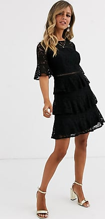 Little Mistress Schwarzes Minikleid mit Spitzenrüschen und Gittereinsatz