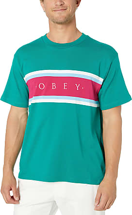 Obey Mens Charm Classic SS Knit Tee T-Shirt, Blue/Green/Multi, Large