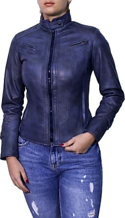 Leather Trend Italy V173 - Giacca Donna in Vera Pelle colore Blu Invecchiato