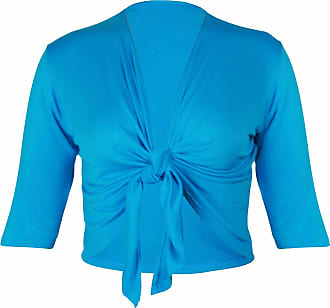 Purple Hanger New Ladies Half Three Quarter Sleeve Tie Shrug Womens Plus Size Jersey Bolero Cardigan Top Turquoise Size 26-28
