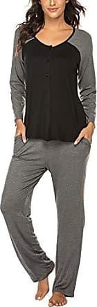 UK Damen Hausanzug Spitze langärmliges Oberteil Hosen weich Pyjama Set PJ