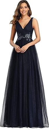 Ever-pretty Womens Classic V Neck Floor Length A line Empire Waist with Appliques Elegant Tulle Formal Evening Dresses Navy Blue 20UK