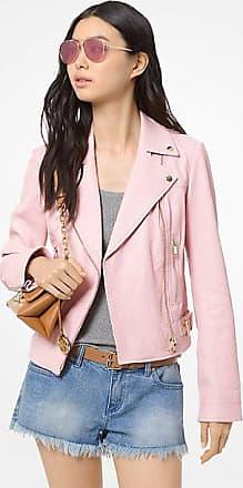 Michael Kors Crinkled Leather Moto Jacket