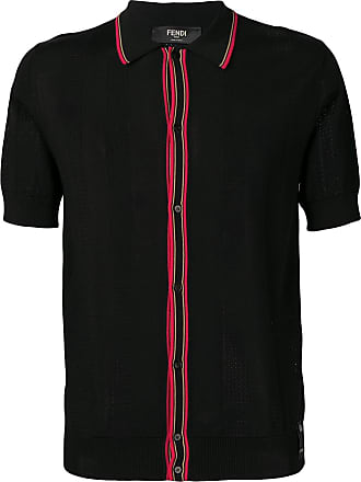 Fendi Camiseta polo com recorte canelada - Preto