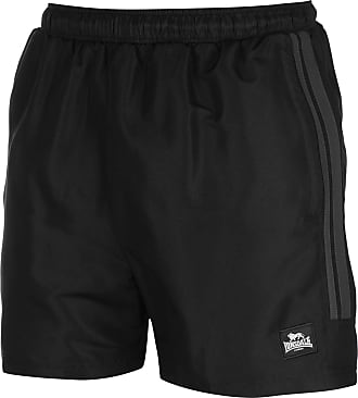 Lonsdale Mens Training Two Stripe Woven Inner Athletic Mesh Briefs Shorts with Safety Pocket Zipper, (Black/Grey) Size Medium