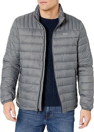 DKNY Mens Water Resistant Ultra Loft Quilted Packable Puffer Jacket Down Alternative Coat, Charcoal, Large