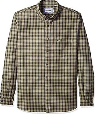 Lacoste Mens Long Sleeve Button Down with Pocket Medium Gingham Poplin, Methylene/Sherwood/Olive Tree X-Large/XX-Large