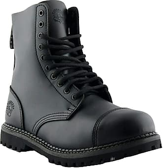 Grinder Cedric Burgundy Black Military Unisex 8 Hole Plain Toe Design