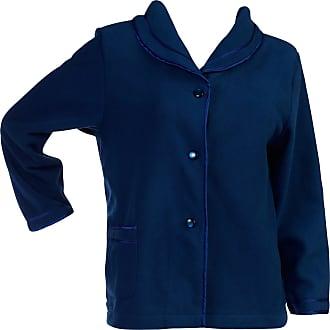 Slenderella Womens Button Up Bed Jacket Anti Pill Polar Fleece Satin Trim Housecoat XXXL (Blue)