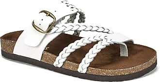 White Mountain Shoes Hayleigh Womens Sandal, White/Leather, 6 M