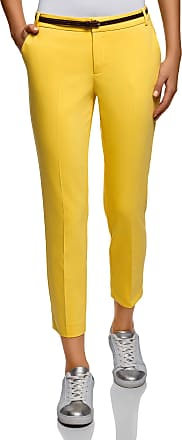 oodji Collection Womens Cropped Belted Trousers, Yellow, UK 16 / EU 46 / XXL