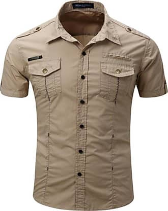 Hellomiko Mens Shirt Classic Short Sleeve Single Breasted Army Style Shirts Khaki