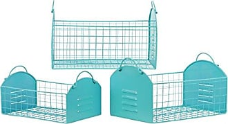 Urban Trends Collection Urban Trends Metal Rectangular Basket with Metal Handles and Mesh Sides (Set of 3), Blue