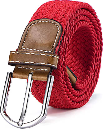 DonDon Braided stretch belt elastic for women and men length 39 to 51 inch - 100 cm to 130 cm red