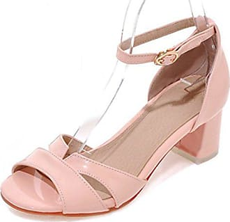f6aefcc54b0cff Aisun Damen Süß Cut-Out Lackleder Toe Open Blockabsatz Schnalle Sandalen  Pink 37 EU