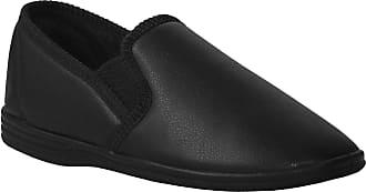 Zedzzz Mens Gents Twin Gusset Elastic Slip On Velour Faux Leather Slippers Size UK 7-14 (13 UK, Black PU)