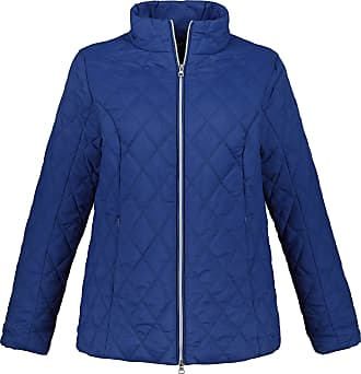 Ulla Popken Womens Plus Size Fleece Scarf and Diamond Quilted Jacket Royal Blue 24/26 719892 77-50+