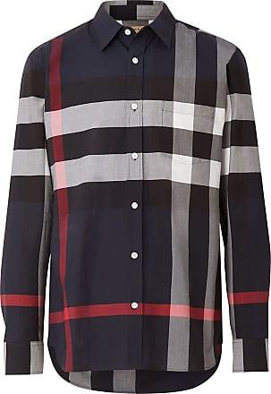 Burberry Check Stretch Cotton Shirt - Blue