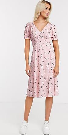 Miss Selfridge stamp print midi dress in light pink