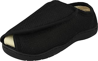 Spot On Unisex Spot On Perforated Open Toe Wide Fitting Slippers CT-16001 - Textile Black - UK Size 5-6 - EU Size 38-39 - US Size 7-8