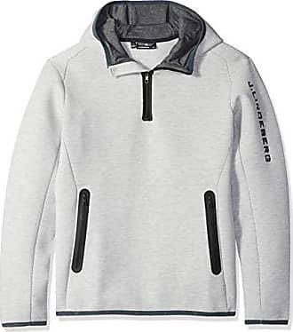 J.Lindeberg Mens Logo Hood Tech Sweat Jacket, Stone Grey Melange, Large