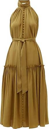 Zimmermann Super Eight High-neck Buttoned Silk-crepe Dress - Womens - Khaki