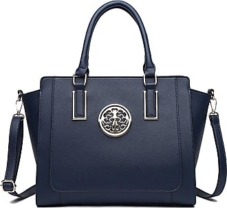 LeahWard Large Size Tote Bags For Women Nice Faux Leather Shoulder Bag Handbags For School Office Holiday 00349 (NAVY)