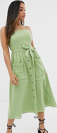 Miss Selfridge cami midi dress with belt in green