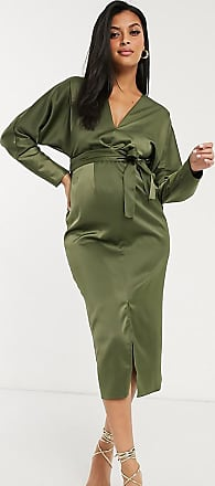 Asos Maternity ASOS DESIGN Maternity midi dress with batwing sleeve and wrap waist in satin in khaki-Green