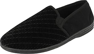 Zedzzz Mens Black Velour Twin Gusset Slipper - Kevin - Black - size UK Mens Size 16