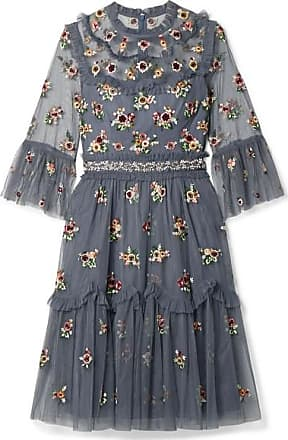 Needle & Thread Magdalena Embellished Embroidered Tulle Dress - Navy