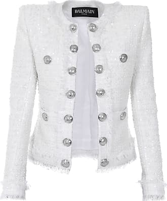 Balmain Blazer Botões Tweed Branco - Mulher - 36 FR