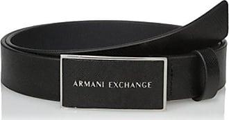 A|X Armani Exchange Armani Exchange Mens Saffiano Belt with Logo Rectangle Buckle, black, 30