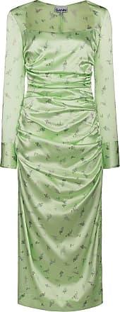 Ganni Vestido midi franzido com estampa floral - Verde
