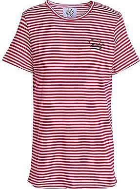 Zoe Karssen Zoe Karssen Woman Embroidered Striped Cotton-blend Jersey T-shirt Red Size XS