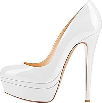 9e279f120697 Onlymaker Damenschuhe Pumps High-Heels Stiletto mit Plateau Rutsch Hochzeit  Weiß EU46