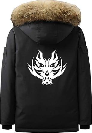 Cosstars Anime God Eater Mens Outdoor Parka Padded Jacket Cosplay Costume Winter Hooded Sweatshirt Coat Cardigan Black XXL
