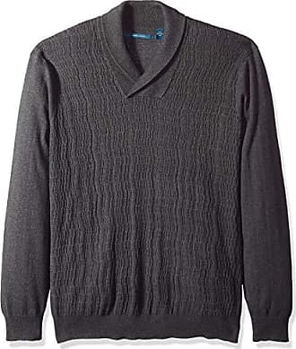 daf510200f Perry Ellis Mens Big and Tall Cable Knit Shawl Collar Sweater